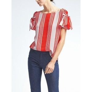 Banana Republic Easy Care Bow Sleeve Top Red